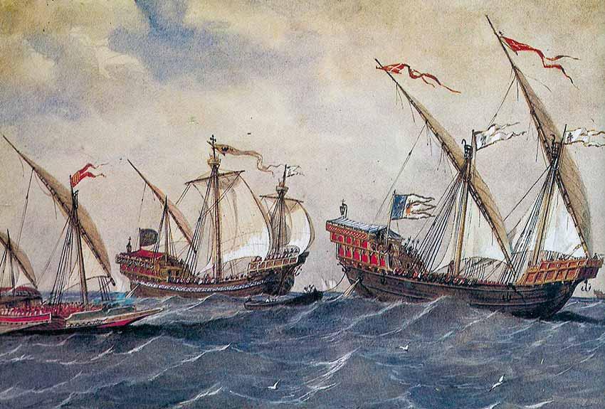 Diferentes buques del siglo XIII con distintas velas: latinas y redondas.