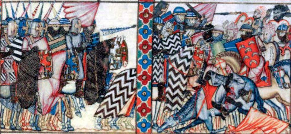 Caballeros castellanos en lucha con los moros. Cantiga 63 de las Cantigas de Santa María de Alfonso X.