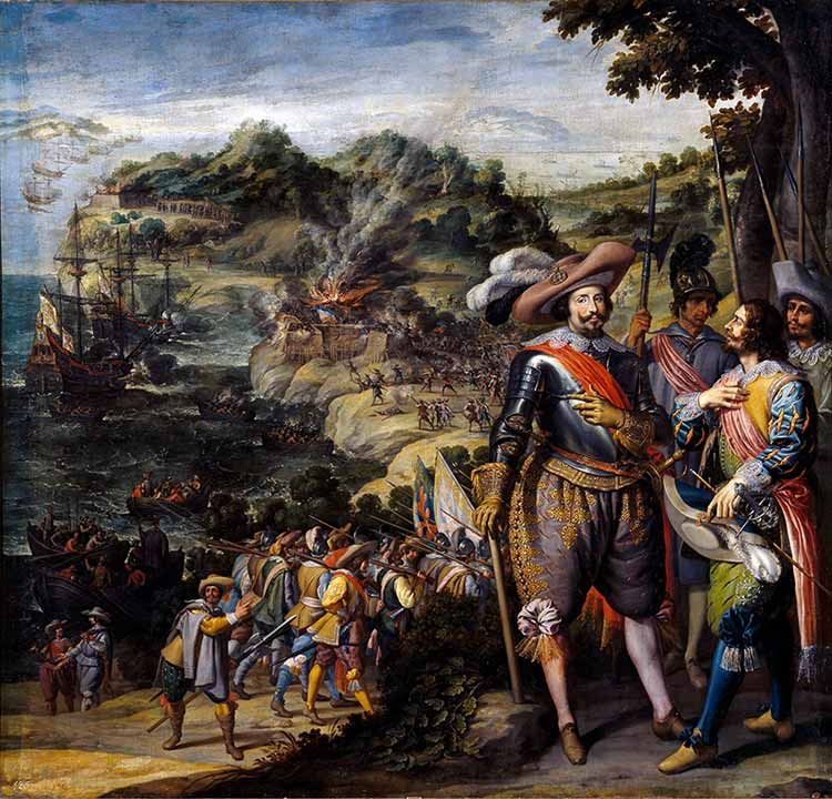 Recuperación de la isla de San Cristóbal. Por Félix Castello. Museo del Prado de Madrid.