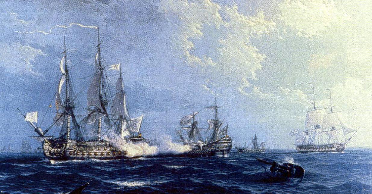 Pintura de la captura navío princesa museo naval de Madrid