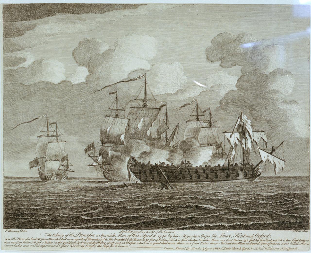 Grabado sobre la captura del navío Princesa