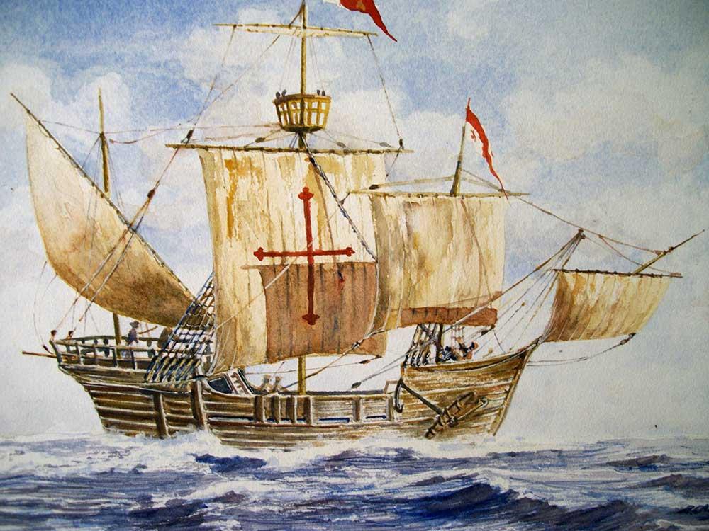 Pintura de la carabela Pinta, de Rafael Castex