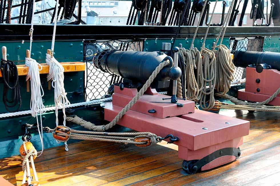 Carronada de 32 libras a bordo de la fragata pesada de Estados Unidos USS Constitution.