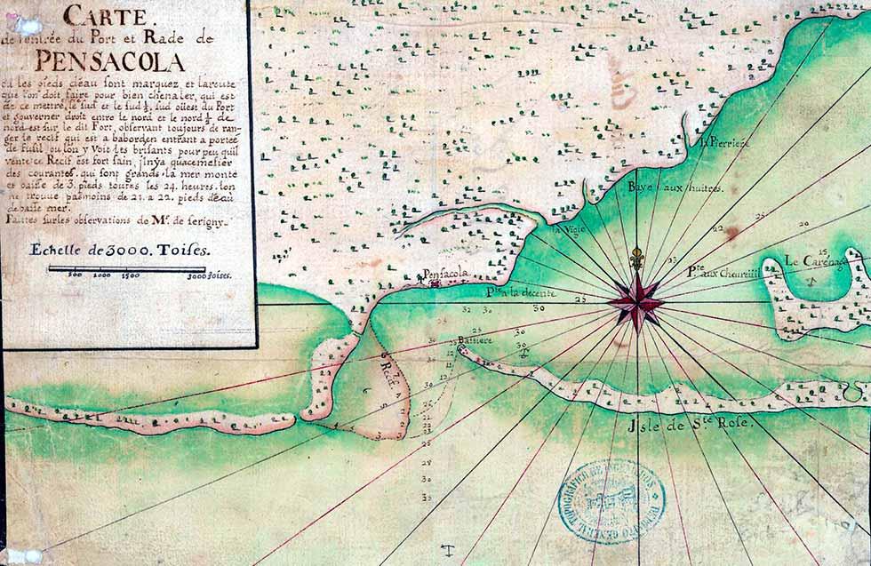 Carte de l'entrée du Port et Rade de Pensacola: Faittes sur les observations de mr. de Serigny. Siglo XVIII. Archivo General Militar de Madrid.