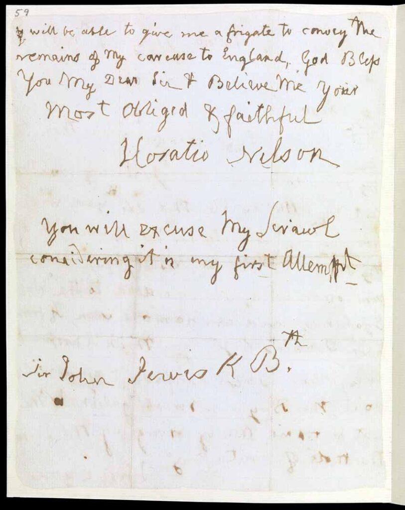 Carta de Nelson tras su derrota en Tenerife en 1797. Segunda parte