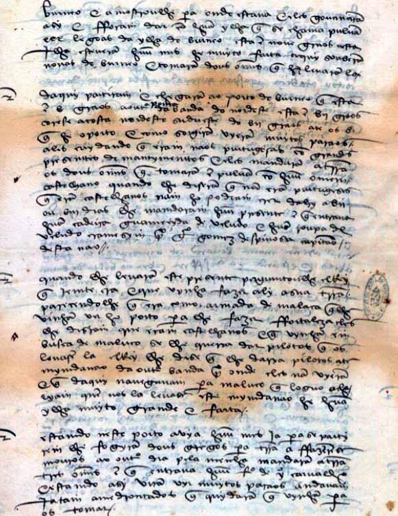 Carta del capitán Antonio de Brito a Juan III de Portugal, informando sobre el paso de las naos que quedaban de la expedición de Magallanes San Juan de Ternate, 6 de mayo de 1523