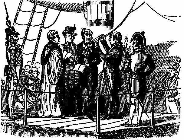 Ahorcamiento del marinero Richard Parker por su participación en el motín del Nore, en Gran Bretaña.