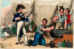 Marinero británico en Trafalgar. Caricatura.
