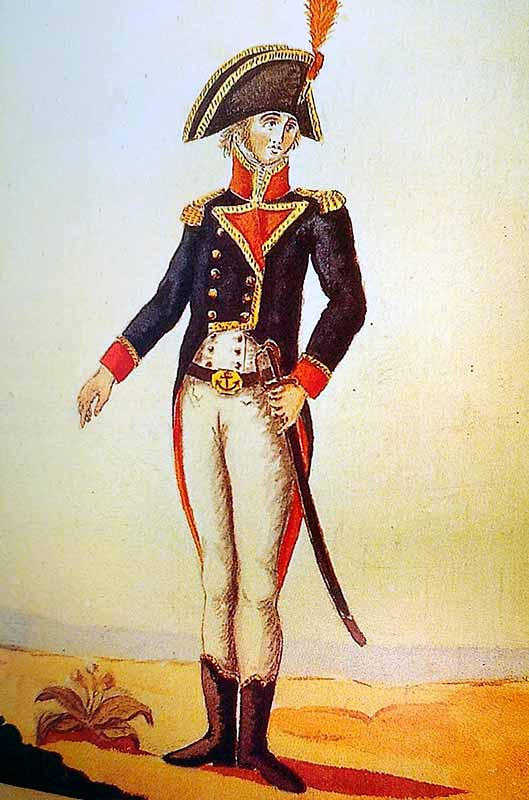 Comandante de un buque de guerra español de principios del XIX