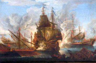 Galeones en combate contra galeras. Escuela holandesa Siglo XVII