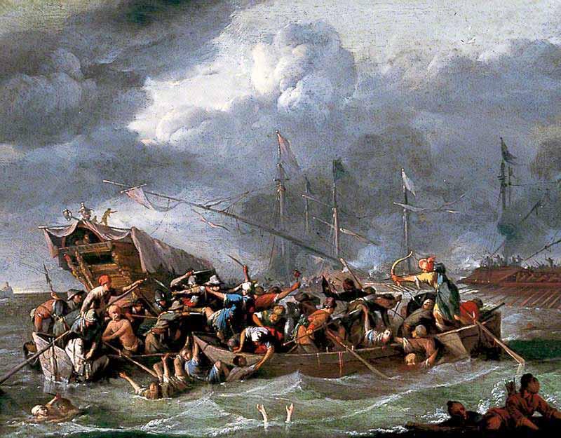 Una batalla naval entre cristianos y turcos.