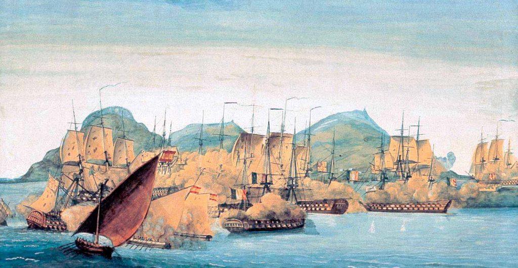 Combate naval en la bahía de Algeciras.