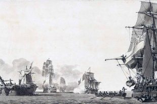 El desarbolado navío británico Venerable tras su enfrentamiento con el navío francés Formidable y otros buques de la escuadra combinada que escaparon a Cádiz