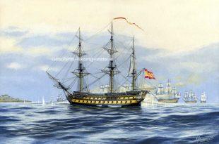Combate del navío Montañés contra una escuadra francesa en la rada de San Feliu de Guixols