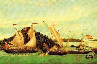 cañonero de vapor español Panay, con una fuerza de 30 caballos, entabló combate con tres navíos piratas, dos Gubanes y un Garay;