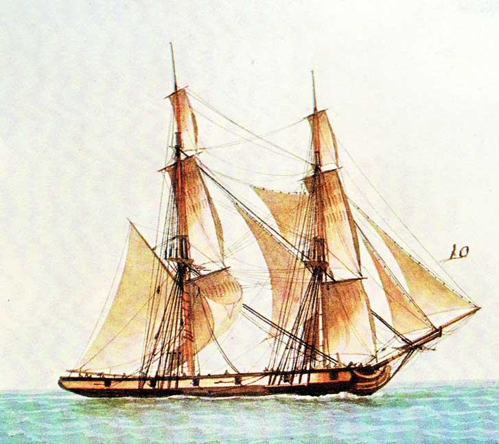 Corbeta Les Amis, pintado por Frederic Roux. Parecida a la corbeta Castor