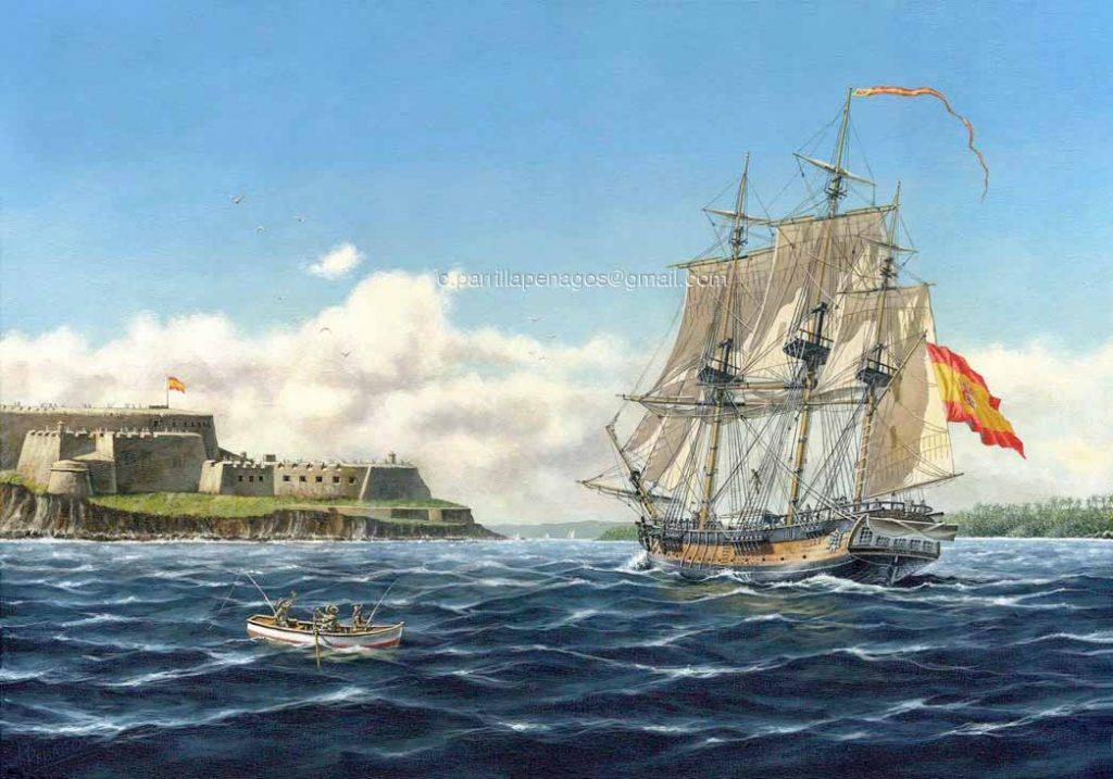 Pintura de la corbeta María Pita