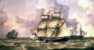 corsario español Espadarte. Flota de buques navegando.