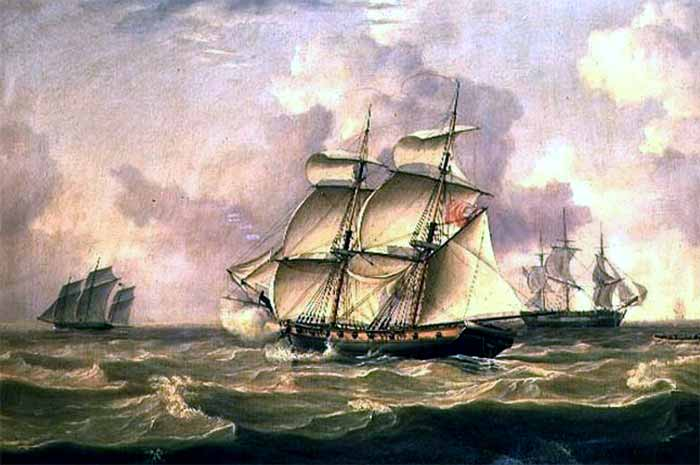 Flota de buques navegando. Corsario español Espadarte.