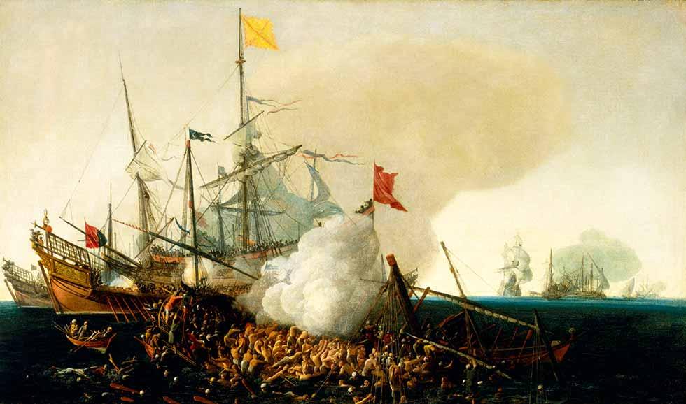 Galeras corsarias berberiscas luchan contra galeones españoles
