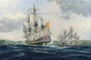 Corsarios del Plata apresando un buque inglés