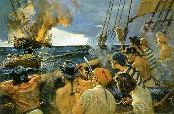 Corsarios y buque ardiendo