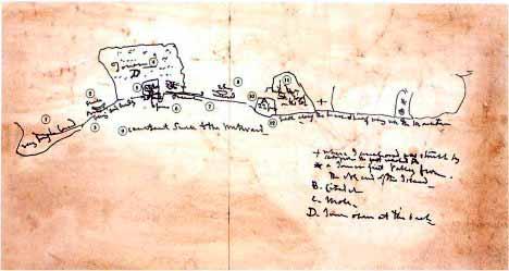Croquis del plan de Nelson en el ataque a Tenerife en julio de 1797