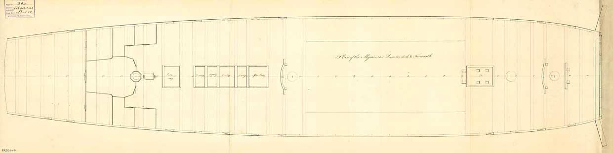 Plano de la cubierta del navío Algeciras