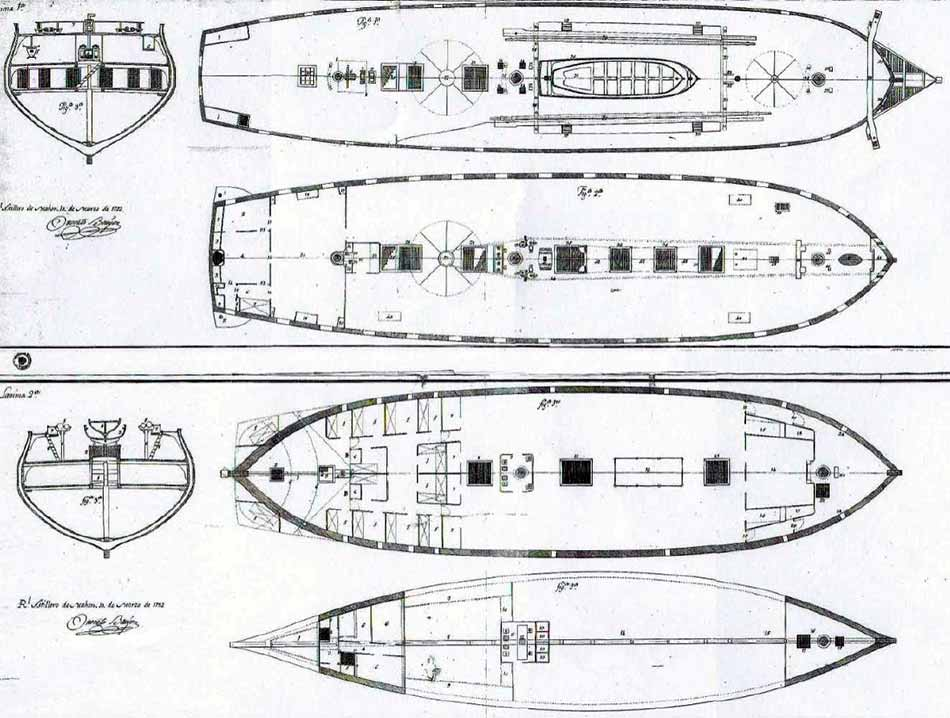Planos de las diferentes cubiertas de la Diana.