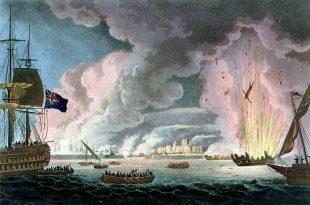 Destrucción de la flota francesa en Toulon el 18 de diciembre de 1793.