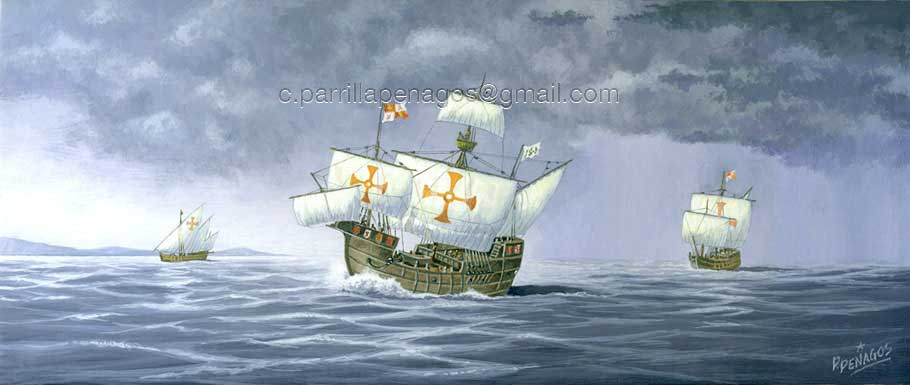 Pintura de Carlos Parrilla sobre la Pinta, la Niña y la Santa María, las naves de Colón con las que descubrió América