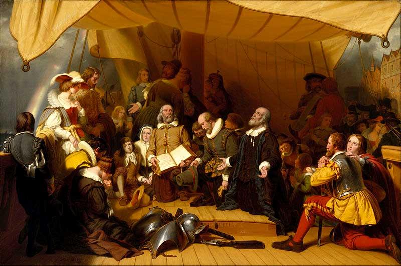 Embarco de los peregrinos en el Mayflower