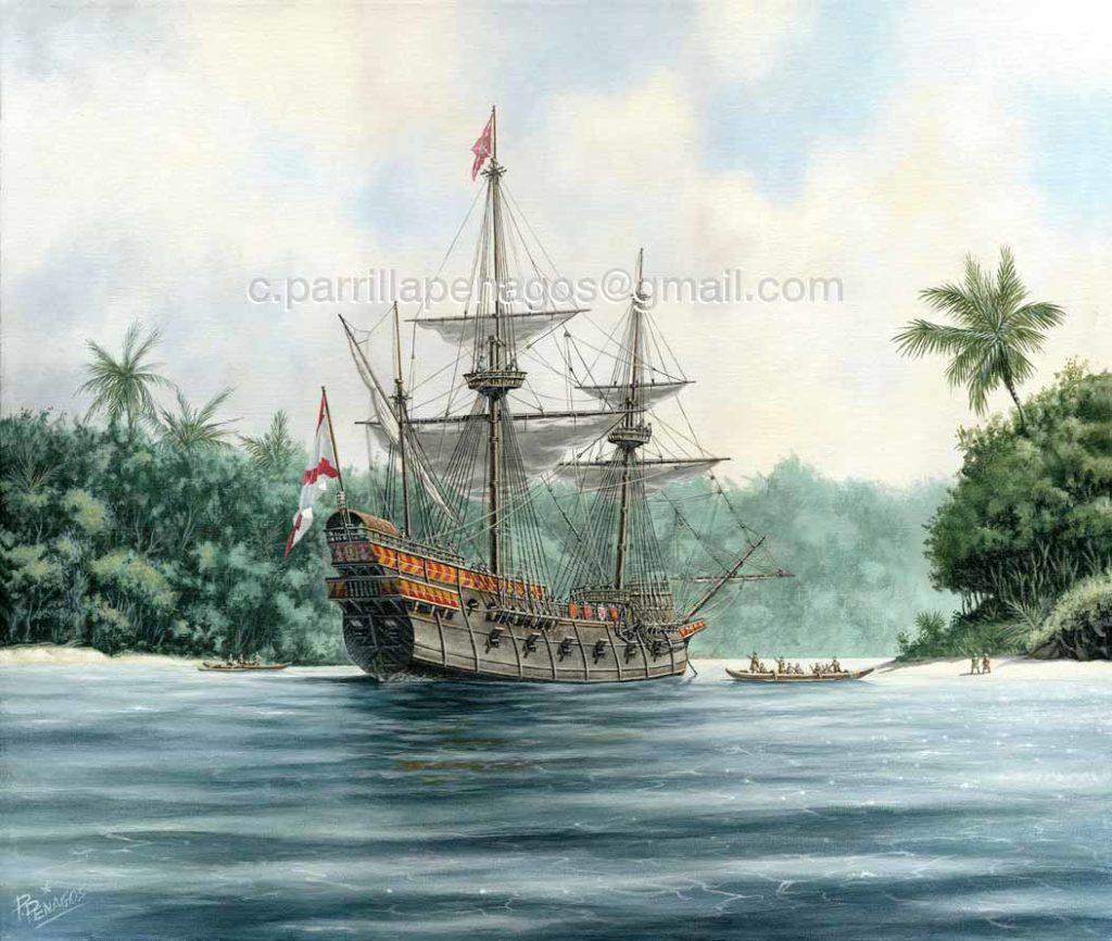 En algún lugar del Pacífico. Pintura de Carlos Parrilla