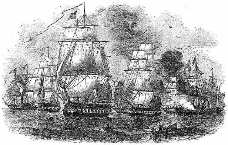 Escuadra del comodoro Perry en Japón en su segunda visita en 1854