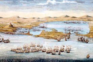 Disposición de la escuadra del vicealmirante Vernon en el asedio de Cartagena de Indias.
