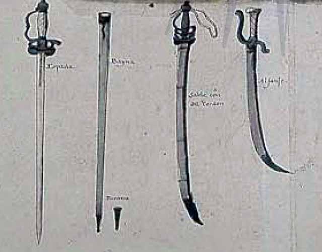 Espadas y sables a bordo de los buques de la Real Armada