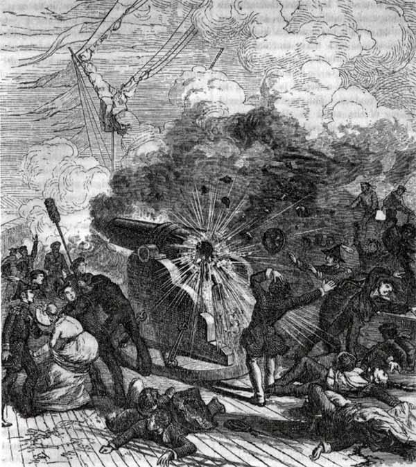 Explosión del cañón Peacemaker a bordo del buque USS Princeton