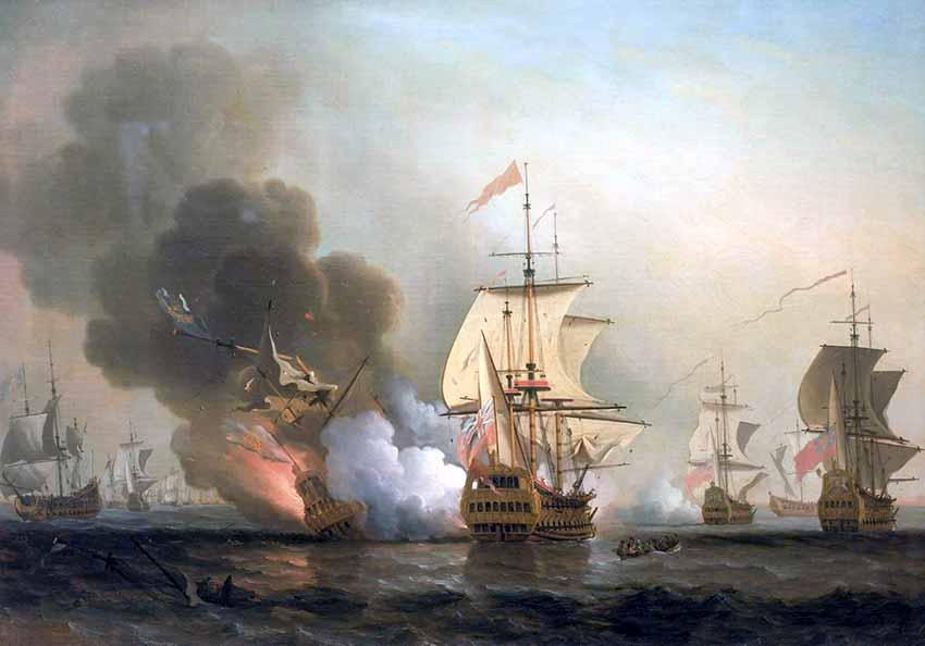 Batalla de Barú, con el momento de la explosión del galeón San José