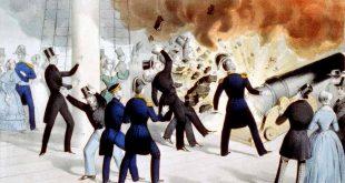 Explosión del cañón Pacemaker en la corbeta USS Princeton