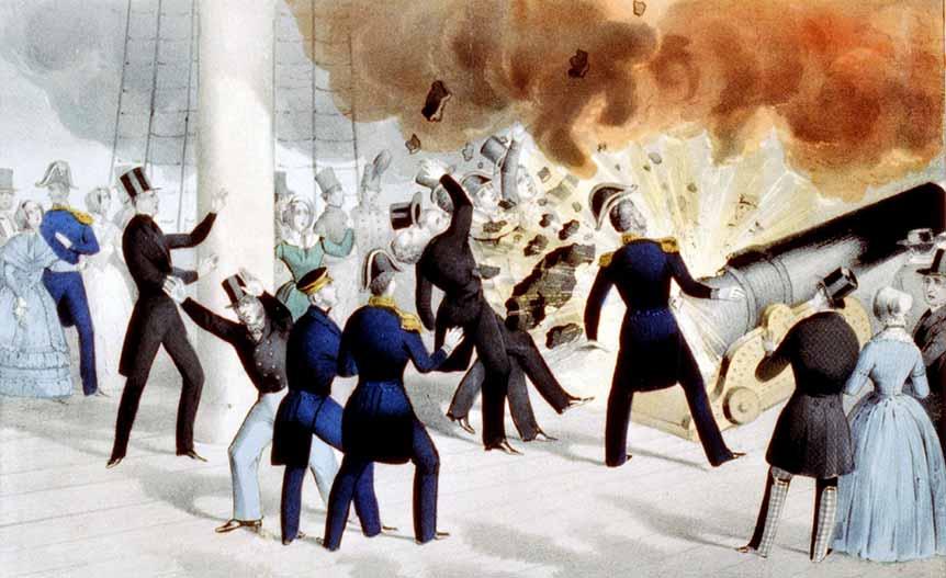 Explosión del cañón Peacemaker en la corbeta USS Princeton