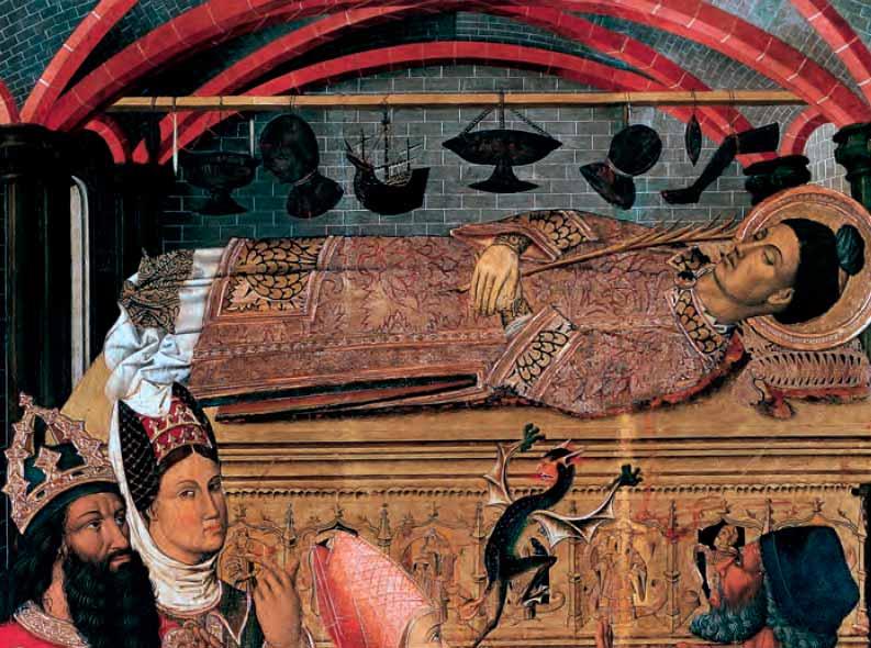 La princesa Eudoxia ante la tumba de san Esteban. Detalle donde se aprecia el exvoto de una nao.