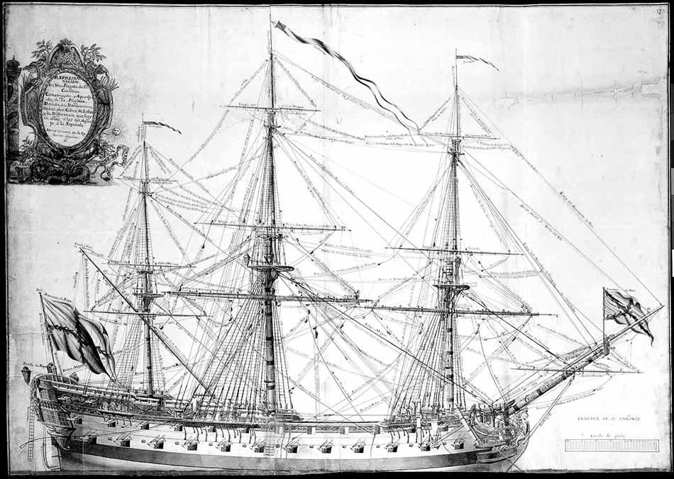 Fragata española de 52 cañones.