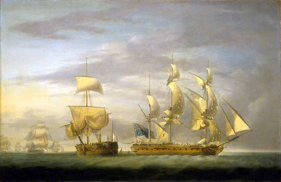 Captura de la Amazone por la HMS Santa Margarita, 29 julio de 1782 por Robert Dodd. La fragata británica era la ex española Santa Margarita, apresada por la HMS Tartar en 1779. La Amazone tuvo que ser abandonada al acercarse una escuadra francesa, que la recapturó al día siguiente. La Amazone era otra de las fragatas de la clase Iphigénie.