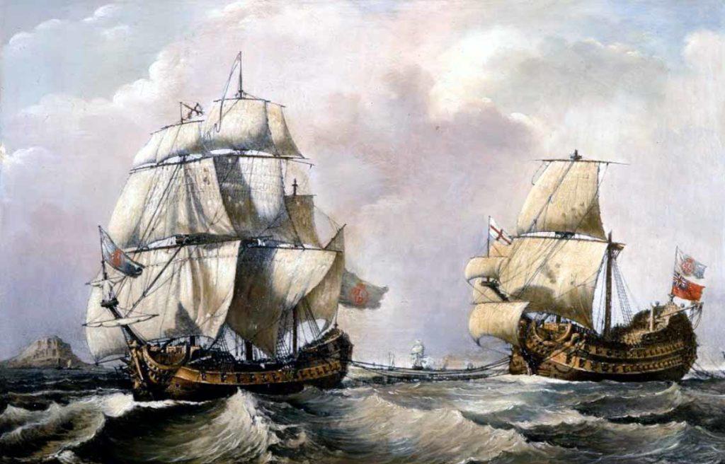 La fragata de Blas de Lezo remolcando el navío Stanhope