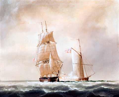 Fragata contra cutter británico. Situación similar a la del apresamiento del HMS Collector