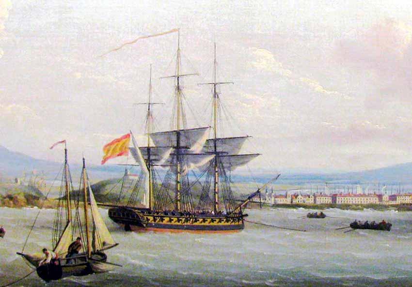 Fragata española en Mahón