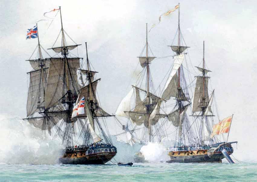 La fragata británica H.M.S. Terpsichore en combate contra la fragata española Mahonesa