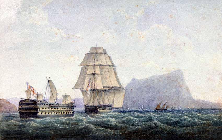 La fragata HMS Naiad remolcando al HMS Belleisle, desarbolado en la Batalla de Trafalgar