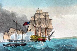 Acuarela de un mercante británico luchando contra varios buques franceses. Esta sería una embarcación parecida a la fragata Duke Of Clarence.