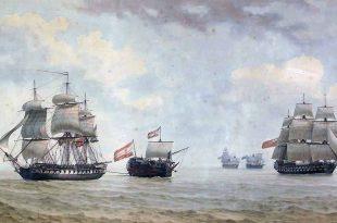 La fragata francesa Themis remolcando al navío español Santa Ana.